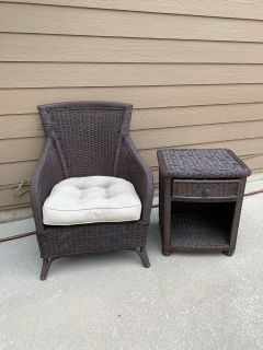 Wicker chair and side table