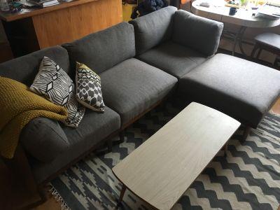 Mid-century style modular sofa and ottoman