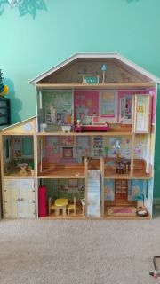 Tall wood doll house with furniture