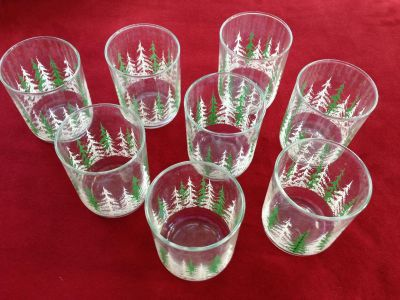 Green and White Tree Glasses