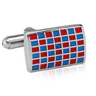 $20, Red And Blue Checkered Cufflinks