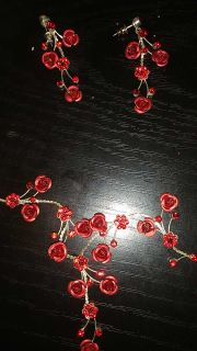 Red sparkly Rose necklace and earring set