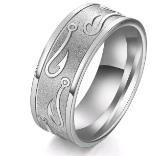 Silver Size 13 Fishing Hook Ring