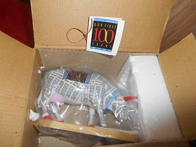 """Westland Gifts COW PARADE Figurine! 100 Years """"HOUSTON CHRONICLE"""" + Orig Box and tag"""