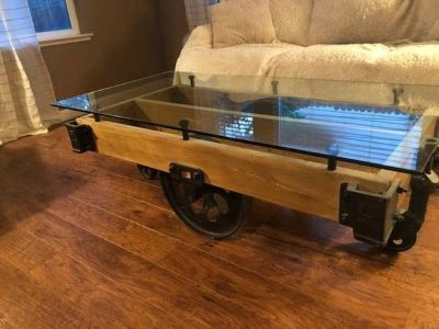Restoration Hardware Factory Cart Glass Top Coffee Table