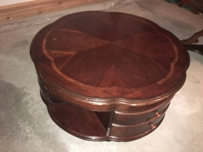 Round cherry coffee table