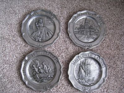 "Set of 4 SEXTON PEWTER Wall Plates American History 7"" 1973 USA"