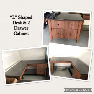 """""""L"""" Shaped Desk with 2 Drawer Cabinet"""