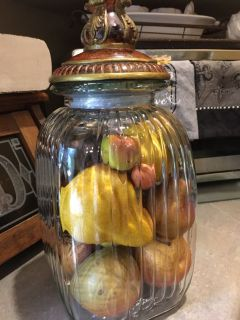 Kitchen decor glass jar with fruit beautiful piece