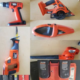 9 piece set. Black and decker. Charger, 2 batteries, Drill, saw, recripicle saw, leaf blower, hand held vacuum and carrying case.