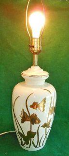 Vintage Lamp Koi Fish Swimming White Pottery
