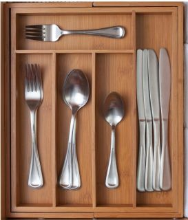 Bamboo Expandable Cutlery Tray Drawer Organizer
