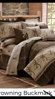 Queen browning comforter, two shams, two throw pillows, sheets