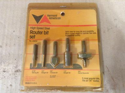 New Old Stock VERMONT AMERICAN 5 Piece Router Bit Set