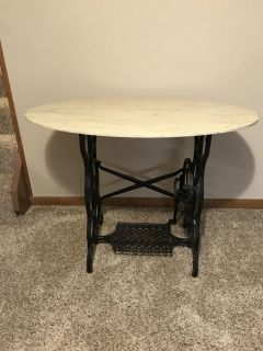 Antique Foot Powered Sewing Machine with Stone Marble-like Top