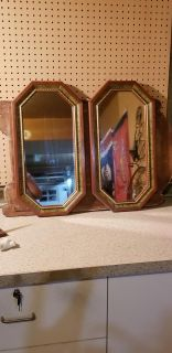 """Set of two wooden frame mirrors """"24h x """"12x"""