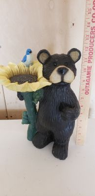 Bear with Sunflower and Bluebird Lawn Statue