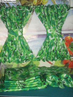 VW Camper Van Green Tropical Foliage Print Curtain