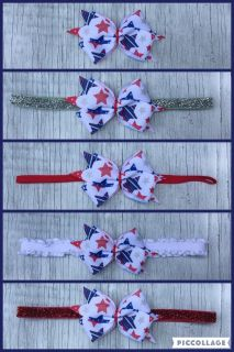 Red White and Blue Stars Hairbow Clips and Headbands!