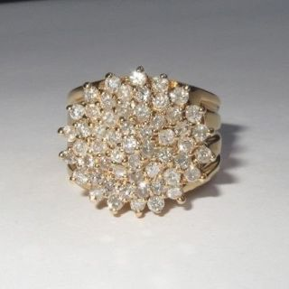 2 CARAT ROUND NATURAL DIAMOND CLUSTER COCKTAIL RING 14K GOLD STATEMENT SIZE 8.5