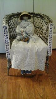Hand Made & Sewn Doll On Vintage Wicker Chair