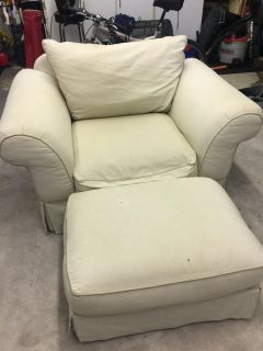 Off white chair and a half with matching ottoman GUC