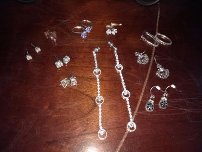 Lot of 10 pairs of silver costume jewelry earrings