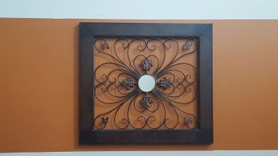 Metal Wall Decor with Small Mirror