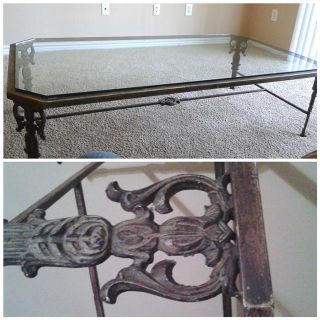 $100, Beautiful Wrought Iron and Glass Coffee Table
