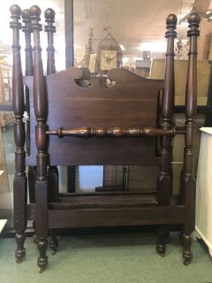 Pair of twin mahogany poster beds