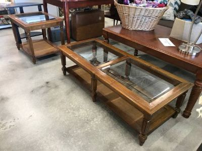 Matching Wood and Glass Coffee Table and End Table