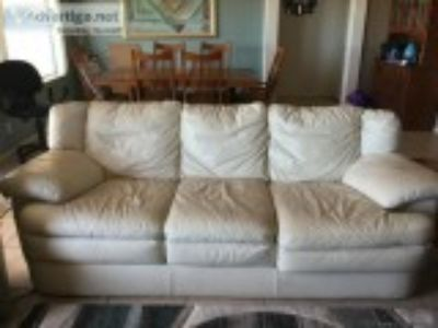 Good used white leather couch