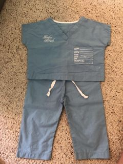 New baby scrubs and announcement. 0-6 mo. Blue. Brand new.