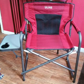 NEW!!!! Folding chair red color with side foldable table! ULINE brand.