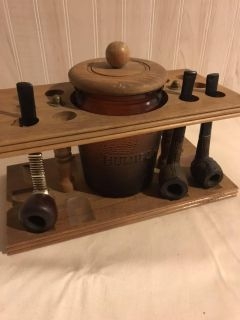 Wood Pipe Stand with Dun-Rite Amber Duraglas Humidor: Vintage