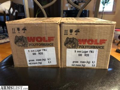 For Sale: 1,000 WOLF POLYFORMANCE 9MM $180