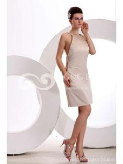 Massoo Champagne Satin Sheath Prom Outfit Knee-length with Pearls MS46HU108