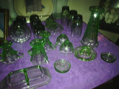 ANCHOR HOCKEN BLOCK OPTIC GLASSWARE- GREEN/ PINK/ AND CLEAR