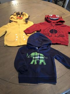 Boys 12 Fleece and flannel Jackets Carters and Circo EUC