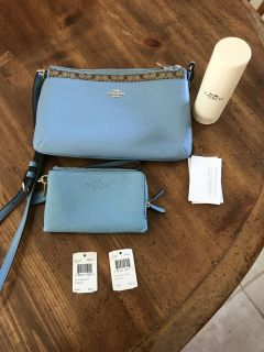 Coach purse with double sided wallet and cleaner originally $320
