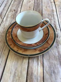 3 Piece Cup & Saucer Set Retroneu Wood Garland