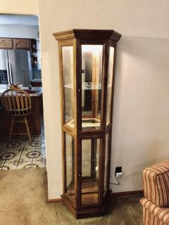 Solid Oak Mirrored & Lighted Curio Cabinet w/ Glass Shelving