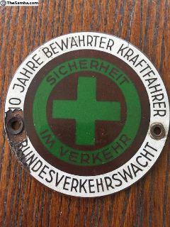 10 Year Safe Driver Badge Emblem German Vintage