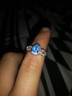 Blue and silver color gemstone ring