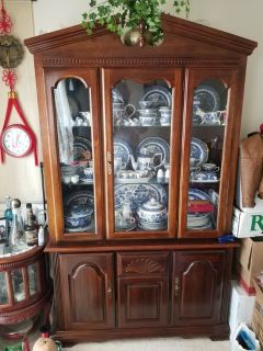 Classic Basset Broyhill type carved wood Buffet Hutch