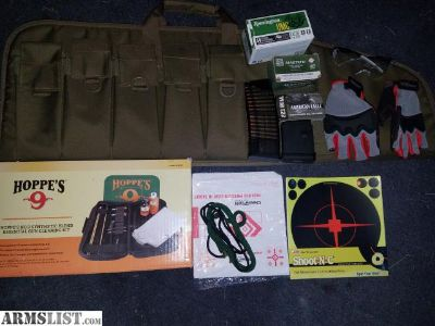 For Sale/Trade: AR-15 ultimate setup accessories tactical case with 5 30 to 40 round mag pouches, Hoppe's number 9 gun cleaning kit 130 round mag filled 110 round mag filled ammo and a couple other items