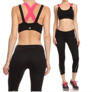 Double Wide Pink & Black Strap Sports Bra (Multiple Sizes Available)