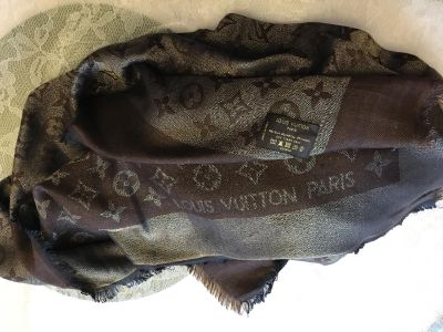 Louis Vuitton chocolate and gold shawl