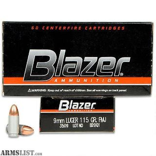 For Sale: Blazer 9mm 115 grain Al casing