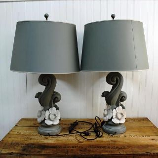 Blue & white flower table lamps - original shades